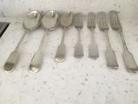 A Collection Of 7 Fiddle Back Silver Plate Cutlery Items C 1900