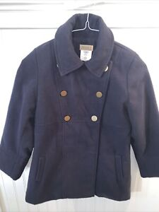 Florence Eiseman Navy Blue Dress Holiday Coat Lined Gold Buttons Girls 14 EUC