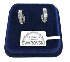 Cerchi 12mm Orecchini uomo donna pl.oro bianco 18K con cristalli swarovski SW12