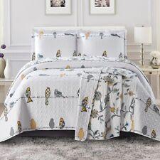 Luxury Modern Ayat Birds Oversized Bedspread Coverlet Set Reversible Bed Quilt