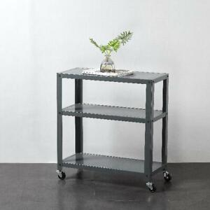 3 Tier Rolling Metal Bookcase Storage Display Shelves Home Decor Furniture New