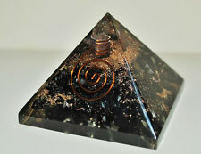 2 INCH ORGONE BLACK TOURMALINE, CRYSTAL WITH COPPER ENERGY GENERATOR  PYRAMID