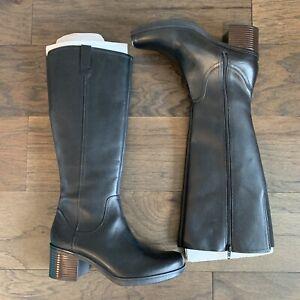 NEW Clarks Hollis Moon Knee High Boots Black Leather Brown Color Block Heel 10