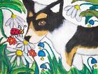 Cardigan Welsh Corgi in Garden Folk Art Print 11x14 Signed by Artist KSams Dogs
