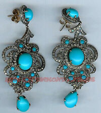 Sterling Silver Turquoise Vintage Earrings Antique Looks 3.88ct Rose Cut Diamond
