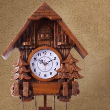 Vintage Black Cuckoo Clock Forest Quartz Swing Wood Wall Clock Handmade Clock