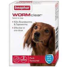 Beaphar WORMclear Dog Puppy Worming Tablets Vet Strength Round &Tapeworm 2 Tab