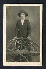 C1920's Portrait Photo of a Young Lady Standing Wearing Coat & Hat.