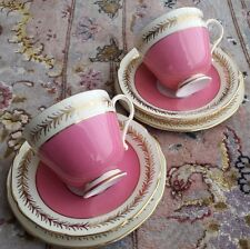 Two Very Rare Antique Art Deco Paragon English Bone China Cup & Saucer Trios