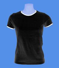 Girlie Damen T-Shirt schwarz weiss zweifarbig L Bündchen Rohware Russell