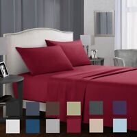 3/4 Piece 1800 Count Hotel Luxury Comfort Deep Pocket Fitted Flat Bed Sheet Set