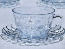 Anchor Hocking Depression Glass Blue BUBBLE Cup Saucer