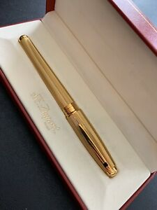 Fountain Pen S T Dupont Olympio Gold Plated Nib 18 k New in Box S.T.