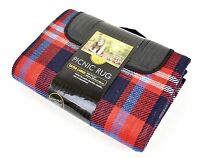 NEW TRAVEL PICNIC RUG WATERPROOF BACKING CARRYING HANDLE CAMPING BLUE & RED
