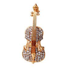 Las mujeres deoro plateado de cristal violín bufanda broches rhinestone brocheSC