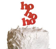 HoHoHo Christmas Cake Topper - Christmas Glittery Red Cake Topper