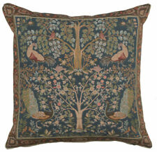 Woven French Tapestry Pillow Throw Cuhion Cover 19x19 Tree In Blue