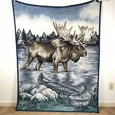 "Biederlack Throw Blanket Moose 58""x76"" Canoe Blue Green"