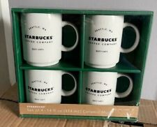 4 Stackable Classic Seattle Starbucks Ceramic 14oz Coffee Mugs Cups 2018