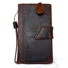 genuine Leather Case for Nokia Lumia 1520 book Wallet cover skin magnet brown uk