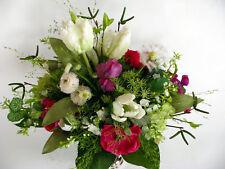 Strauß Blumen Seidenblumen Papageientulpen Pusteblume Anemone Bellis weiß cyclam