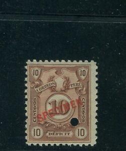 Peru 1909, 10c Postage Due, American Bank Note Co. SPECIMEN overprint. NH #J42
