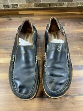 Olukai Moloa Black Leather Casual Loafers Slip On Shoes Men's US 9