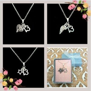 13TH BIRTHDAY TEENAGE GIRLS GIFT NECKLACE. STERLING SILVER CHAIN. GIFT BOXED.
