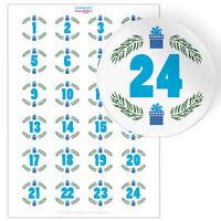 24 Aufkleber für Adventskalender Adventszahlen selbstgemachten Kalender Sack