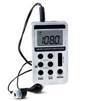 Am fm personal radio stereo portable pocket sports digital display earphones