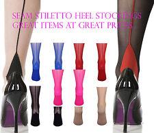 Nylon Cuban Heel Stiletto Seamed Stockings 15 Denier U.K Free Shipping