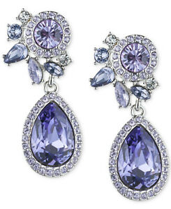 Givenchy Silver-Tone Purple Crystal and Pave Drop Earrings $58