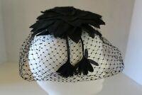 VINTAGE BLACK LEAF LADIES HAT/HEADPIECE WITH BLACK NETTING
