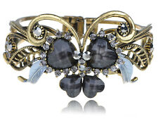 Golden Grey Crystal Rhinestone Heart Bead Love Butterfly Cuff Bracelet Bangle