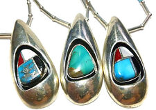 """NAVAJO STERLING SILVER BEAD TURQUOISE LINK SHADOWBOX WOMENS NECKLACE 18.5"""""""