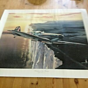 Large print of a Spitfire airplane over the White cliffs of Dover