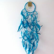 New Turquoise Blue Feather Dream Catcher, Native American Wall Hanging Mobile