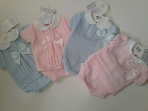 Baby boys girls Spanish style knitted jam pants bow top set 0-12 months