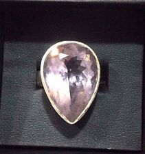 Pink Amethyst and Sterling Silver Ring Pear Cut