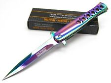 TAC-FORCE Titanium Rainbow STILETTO Assisted Folding POCKET Knife New! TF-884RB