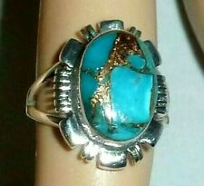 GENUINE TURQUOISE HANDCRAFTED GOLD MATRIX 925 STERLING SOLID RING 6 1/2