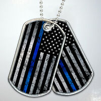 Thin Blue Line Flag Grunge Army Dog Tag Necklace Keychain Stainless Steel Gift
