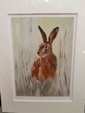 Joanne Harmer signed limited edition mounted print Just a Thought Hare