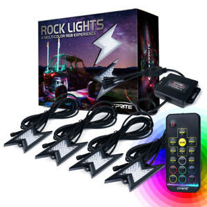 Xprite RGB LED Rock Lights Kit w/ Remote Underglow Underbody Neon System ATV UTV