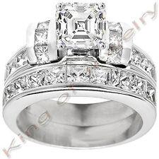 3.08 Ct. Asscher Cut Diamond Engagement Bridal Set