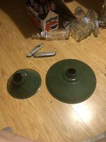 2 Vintage Green Porcelain Barn Lights In Good Condition.