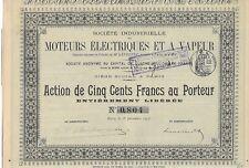 Société Industrielle Moteurs Electriques et a vapeur action de 500 Frs 1896 (804
