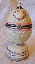 Sankyo Jeweled Music Box Egg Shaped White Doves Pink Roses Plays Lara's Theme