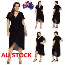 Plus Size Women V Neck Short Sleeve Oversized Dress Summer Party Irregular Dress