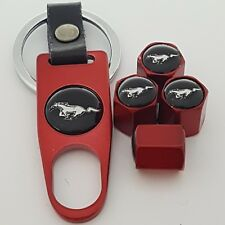 Mustang Wheel Valve Dust caps Alloy Spanner Keychain Boxed all models red GT 500